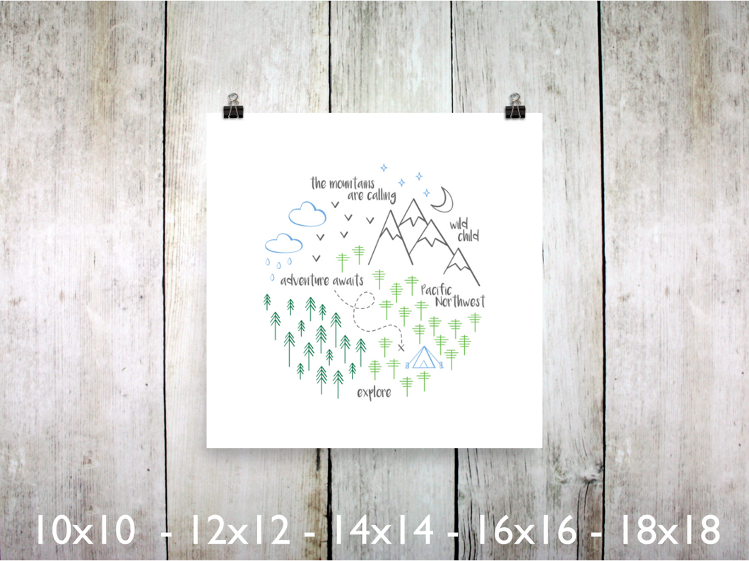 Print - PNW Circle / Green Blue Gray / Square - CAVU Creations