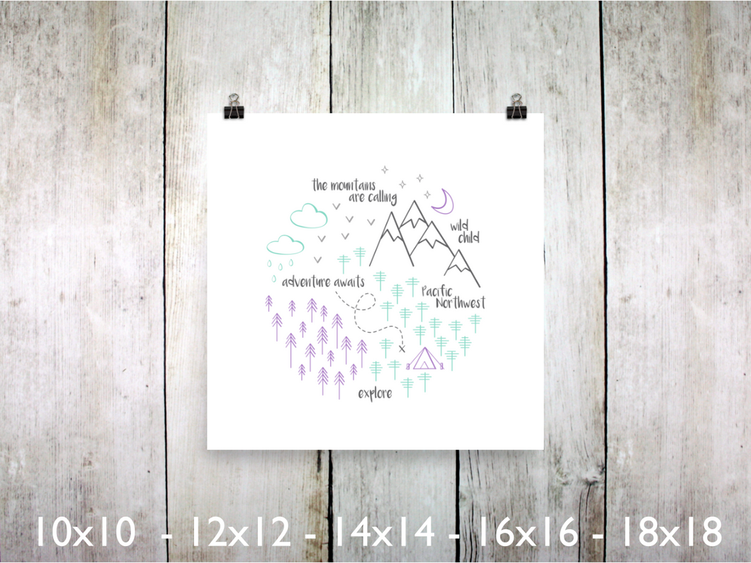 Print - PNW Circle / Purple Mint Gray / Square - CAVU Creations