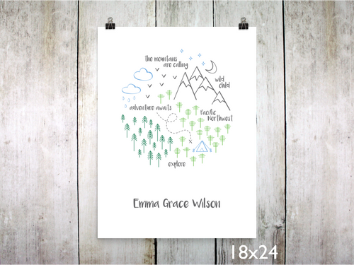 Print - PNW Circle / Green Blue Gray / Personalized - CAVU Creations