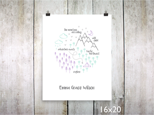Print - PNW Circle / Purple Mint Gray / Personalized - CAVU Creations