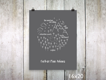 Print - PNW Circle / White on Gray / Personalized - CAVU Creations