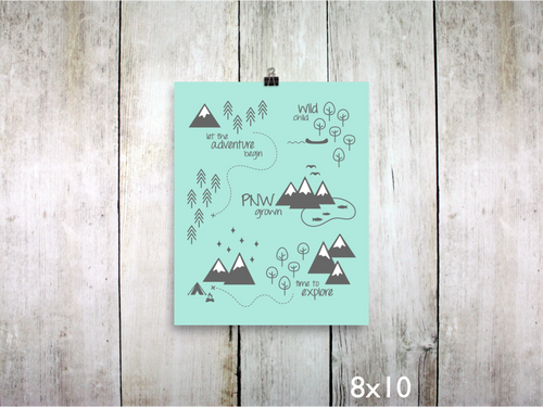 Print - PNW Scene / Charcoal White Mint - CAVU Creations