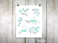 Print - PNW Scene / Emerald Mint Gray - CAVU Creations