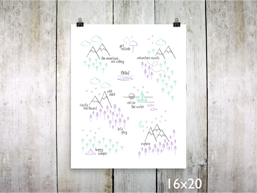 Print - Perfectly PNW / Purple Mint Gray - CAVU Creations