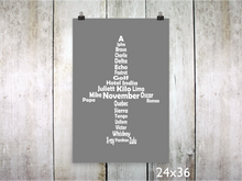 Print - Phonetic Alpha Jet / White on Gray - CAVU Creations