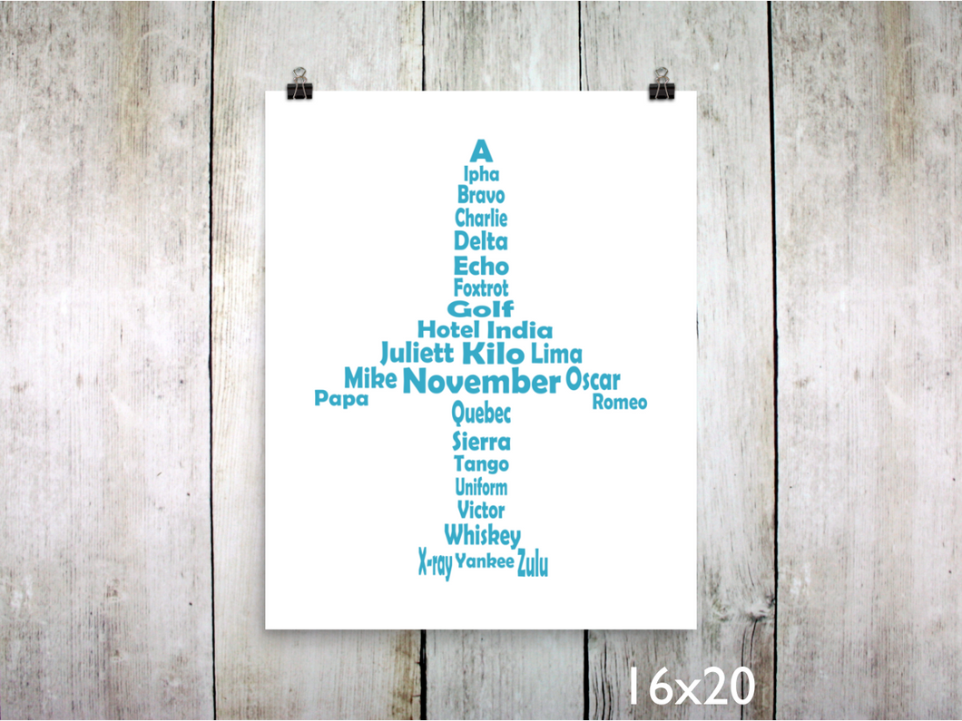 Print - Phonetic Alpha Jet / Sky Blue - CAVU Creations