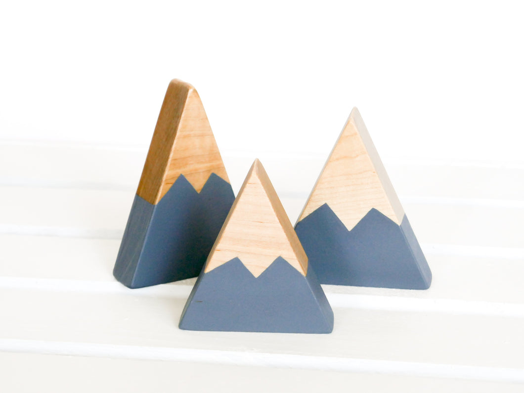 Wooden Mountain Set - Charcoal Gray - Three Small