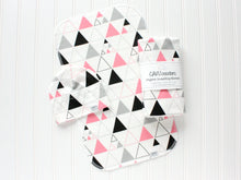 Stacked Triangles Organic Swaddling Blanket - Pink / Gray / Black - CAVU Creations