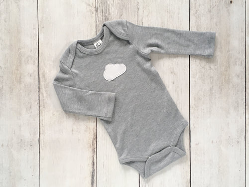 Cloud Organic Bodysuit - Heather Gray / White - CAVU Creations