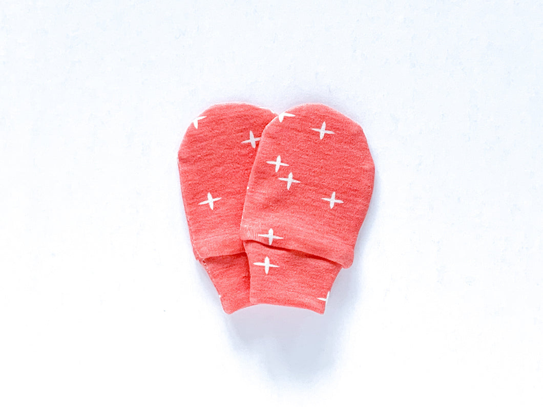 Plus Signs (Wink) Organic Newborn Mittens - Dark Coral / White - CAVU Creations