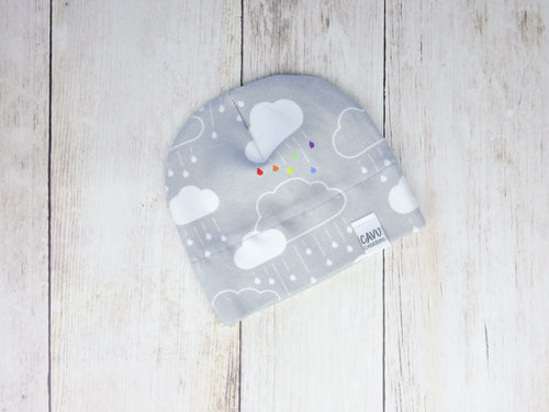 Clouds + Rain Organic Beanie - Rainbow on Gray - CAVU Creations