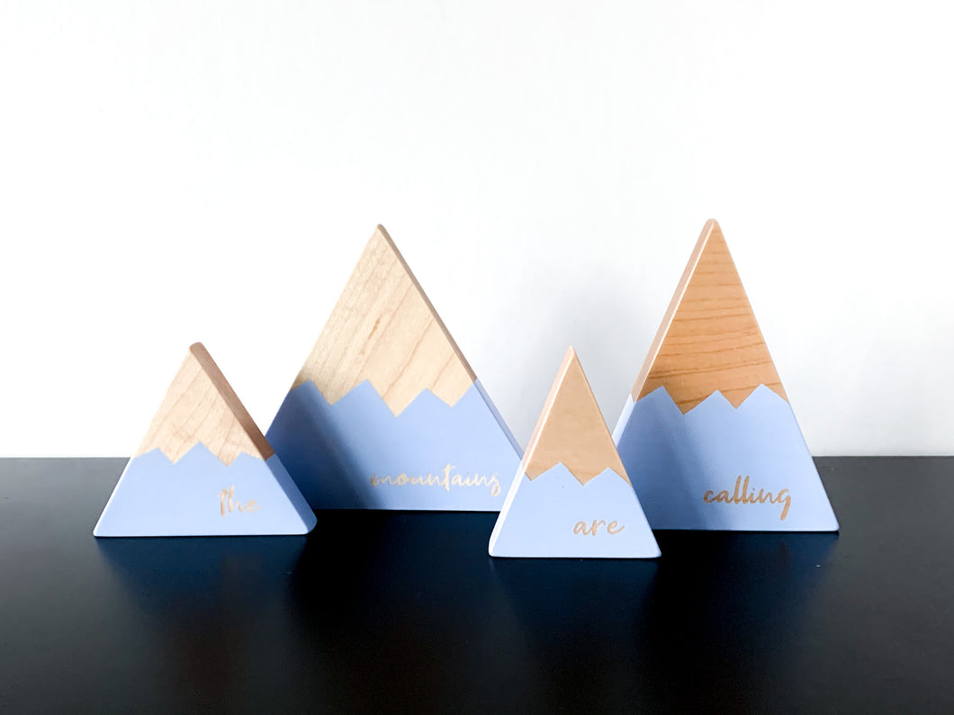 Wooden Mountain Set - Periwinkle Blue -