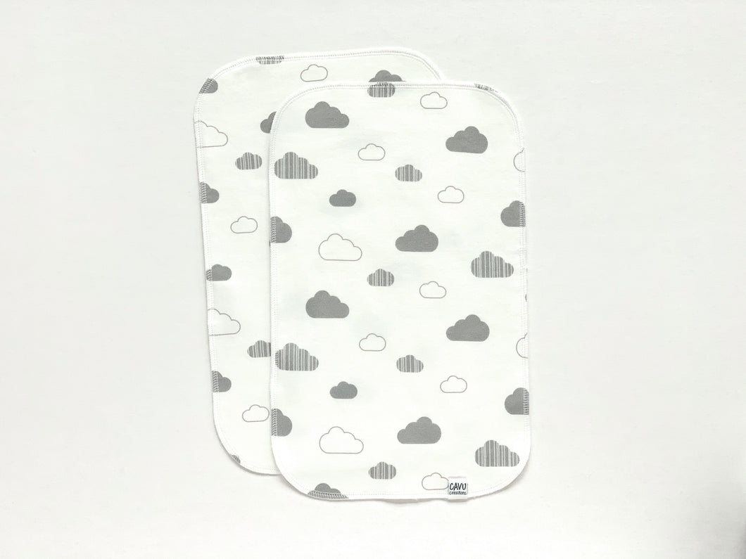 Clouds Organic Burp Cloths (Set of 2) - White / Gray - CAVU Creations