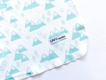 Mountains + Trees Organic Swaddling Blanket - Mint / White - CAVU Creations