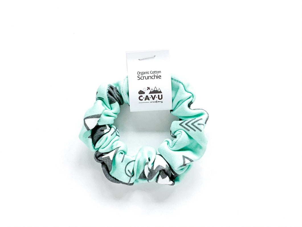 Organic Cotton Scrunchie - Mountains + Trees - Charcoal / Mint - CAVU Creations