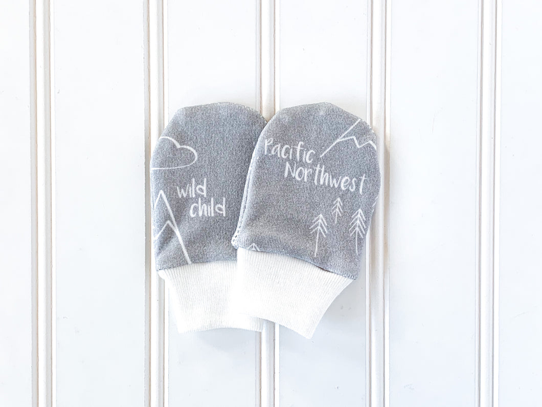 Perfectly PNW Organic Newborn Mittens - White / Gray - CAVU Creations