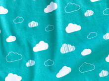 Clouds Organic Swaddling Blanket - White / Teal - CAVU Creations