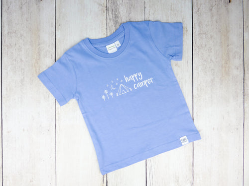 Happy Camper Organic Tee - Sky Blue / White - CAVU Creations