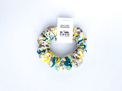 Organic Cotton Scrunchie - Teal / Yellow / Gray