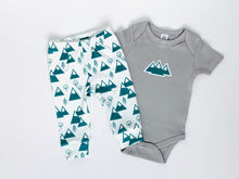 Mountains Organic Bodysuit - Gray / Forest Green (Short)
