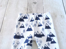 Mountains + Trees Organic Baby Leggings - Navy / White - CAVU Creations