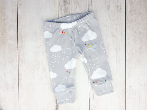 Clouds + Rain Organic Baby Leggings - Rainbow on Gray - CAVU Creations