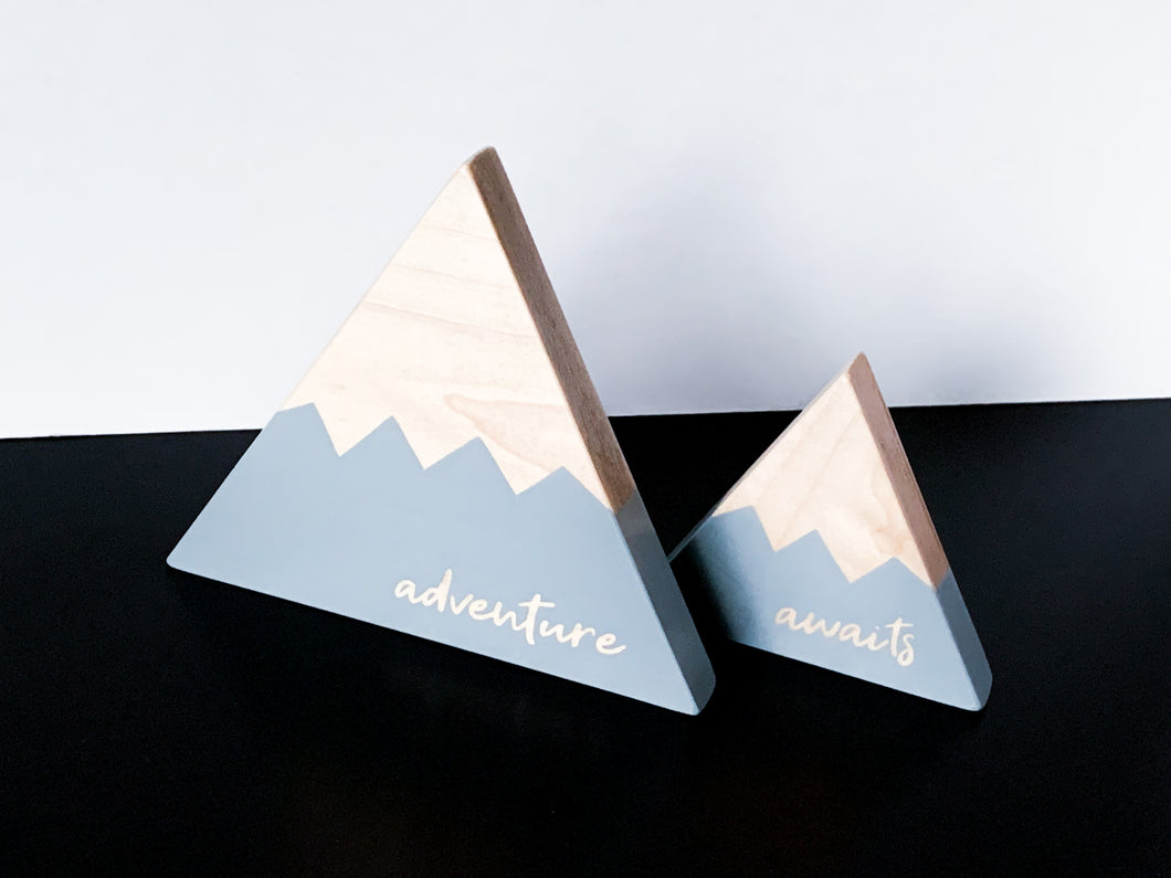Wooden Mountain Set - Light Gray -