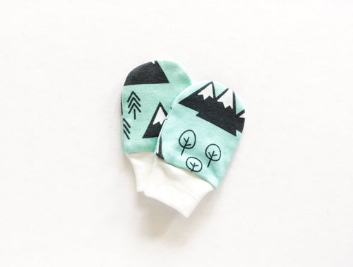 Mountains + Trees Organic Newborn Mittens - Mint / Charcoal Gray / White - CAVU Creations