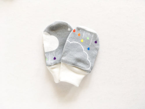 Clouds + Rain Organic Newborn Mittens - Rainbow / White on Gray - CAVU Creations