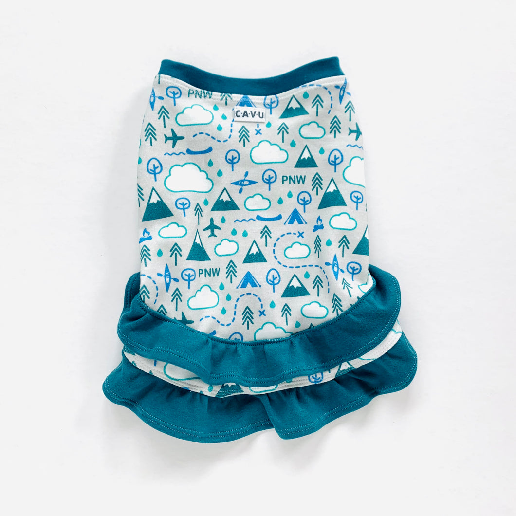 Custom for Olive: PNW Love Organic Cotton Ruffle Dress - Teal / White / Gray / Blue