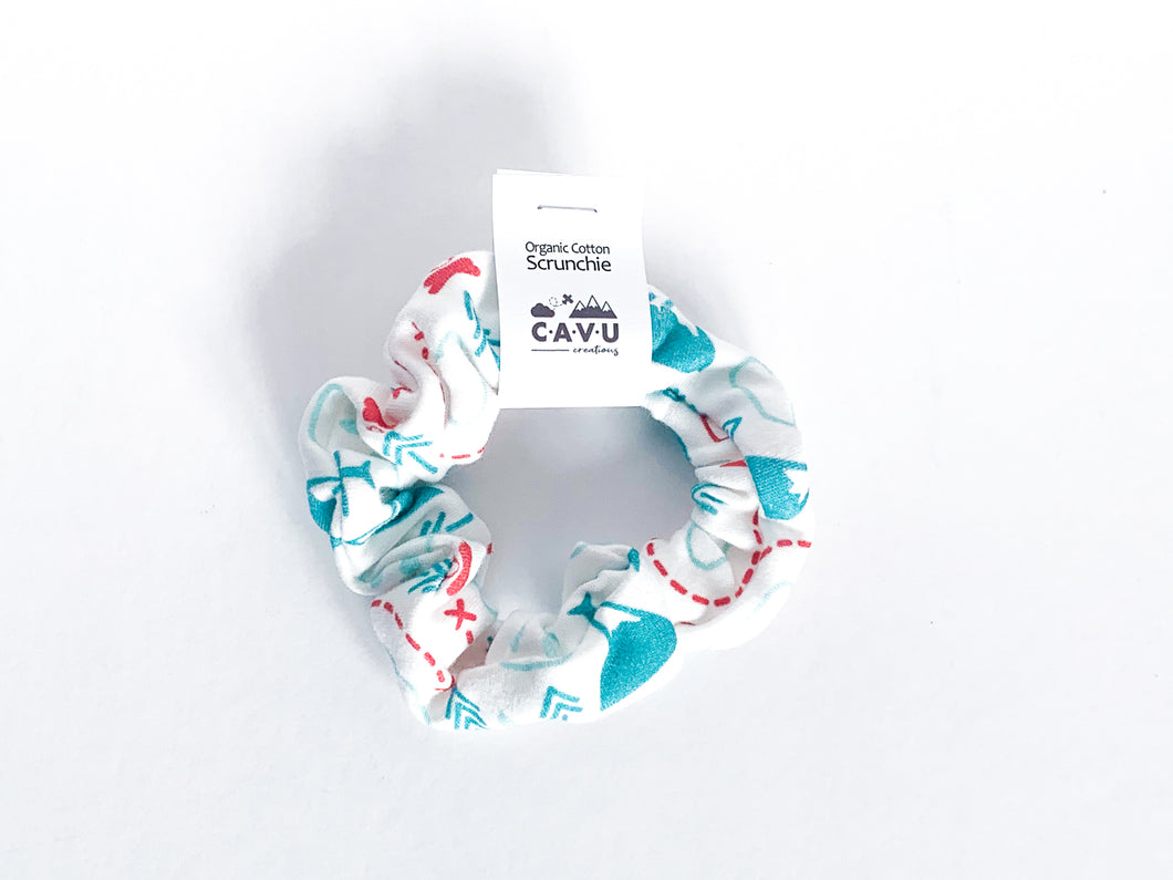 Organic Cotton Scrunchie - PNW Love - Teal / Mint / Red / White