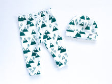 Mountains + Trees Organic Beanie - Forest Green / White - CAVU Creations