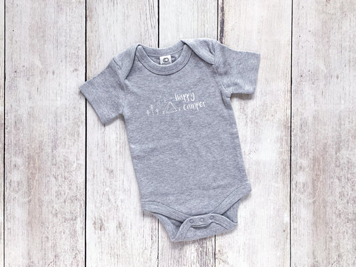Happy Camper Organic Bodysuit - Heather Gray / White (Short)