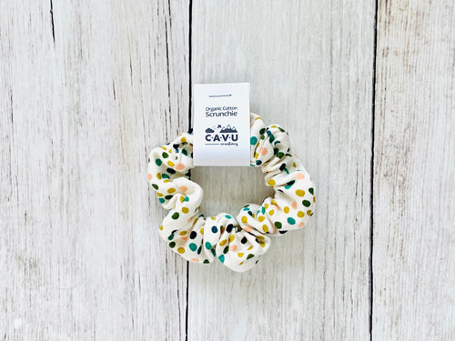 Organic Cotton Scrunchie - Confetti - Mustard / Teal / Pink / Navy / Cream