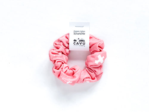 Organic Cotton Scrunchie - Airplanes in Clouds - Coral / White