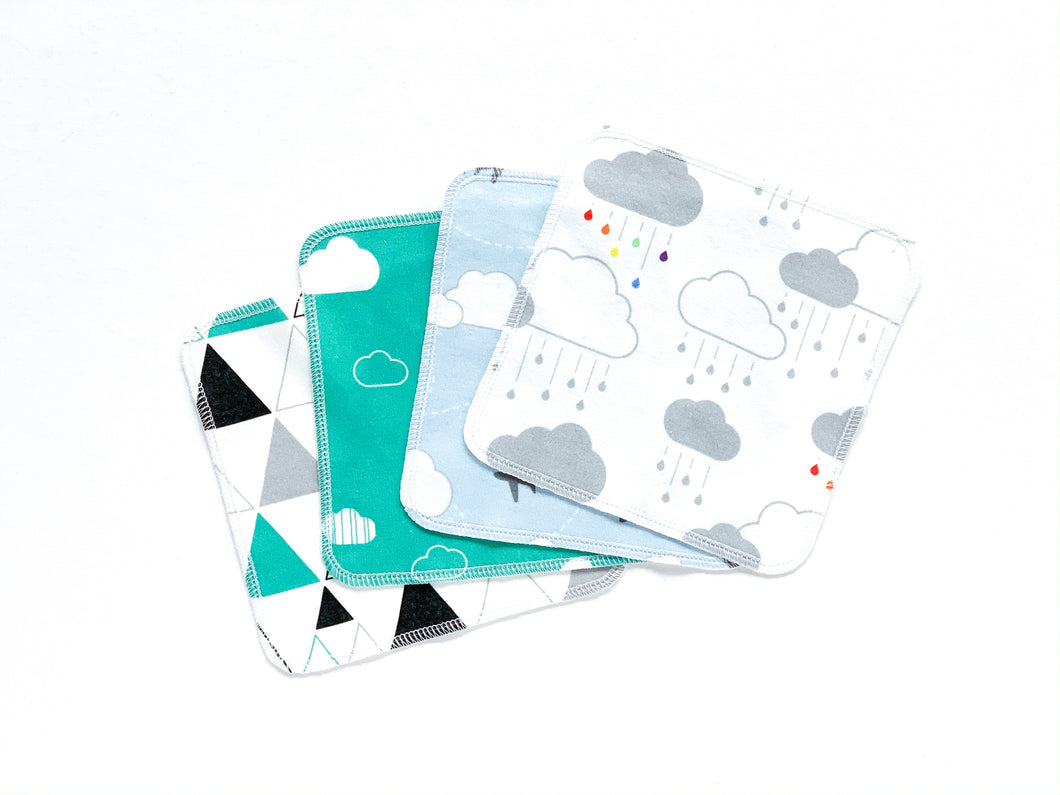 Clouds + Rain Organic Reusable Wipes (Set of 4) - Rainbow / Gray / Teal / Black