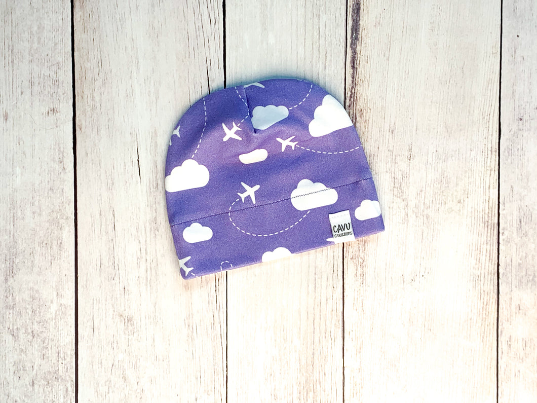 Jets in Clouds Organic Beanie - Purple / White