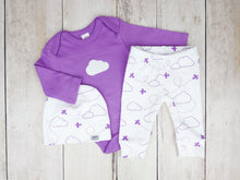 Airplanes in Clouds Organic Baby Leggings - Purple / White - CAVU Creations