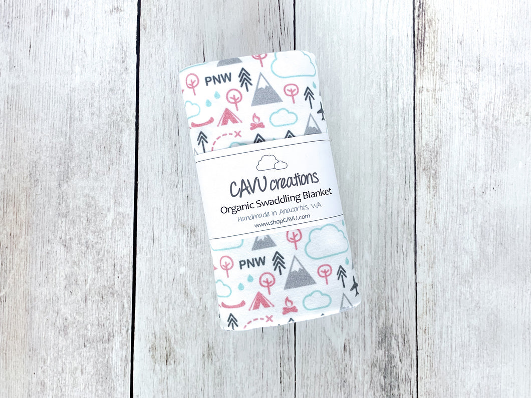 PNW Love Organic Swaddling Blanket - Coral / Mint / Gray - CAVU Creations