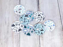 Organic Cotton Face Rounds - Cool PNW Mix - Blues / Greens / Gray (Small)