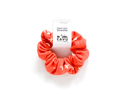 Organic Cotton Scrunchie - Plus Signs (Wink) - Dark Coral / White - CAVU Creations