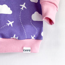 Jets in Clouds Organic Cotton Pullover - Purple / Pink / White