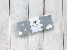 Jets in Clouds Organic Burp Cloths (Set of 2) - White / Gray