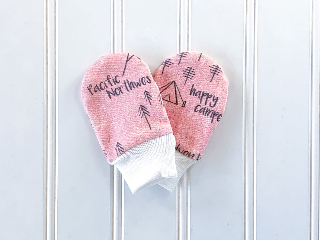 Perfectly PNW Organic Newborn Mittens - Pink / Charcoal Gray - CAVU Creations