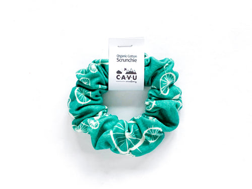Organic Cotton Scrunchie - Birds + Spokes - Green / White - CAVU Creations
