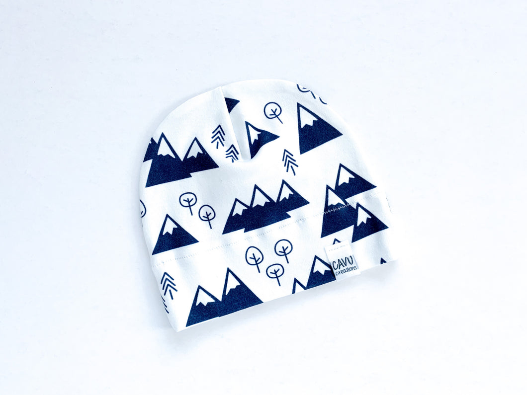 Mountains + Trees Organic Beanie - Navy / White - CAVU Creations