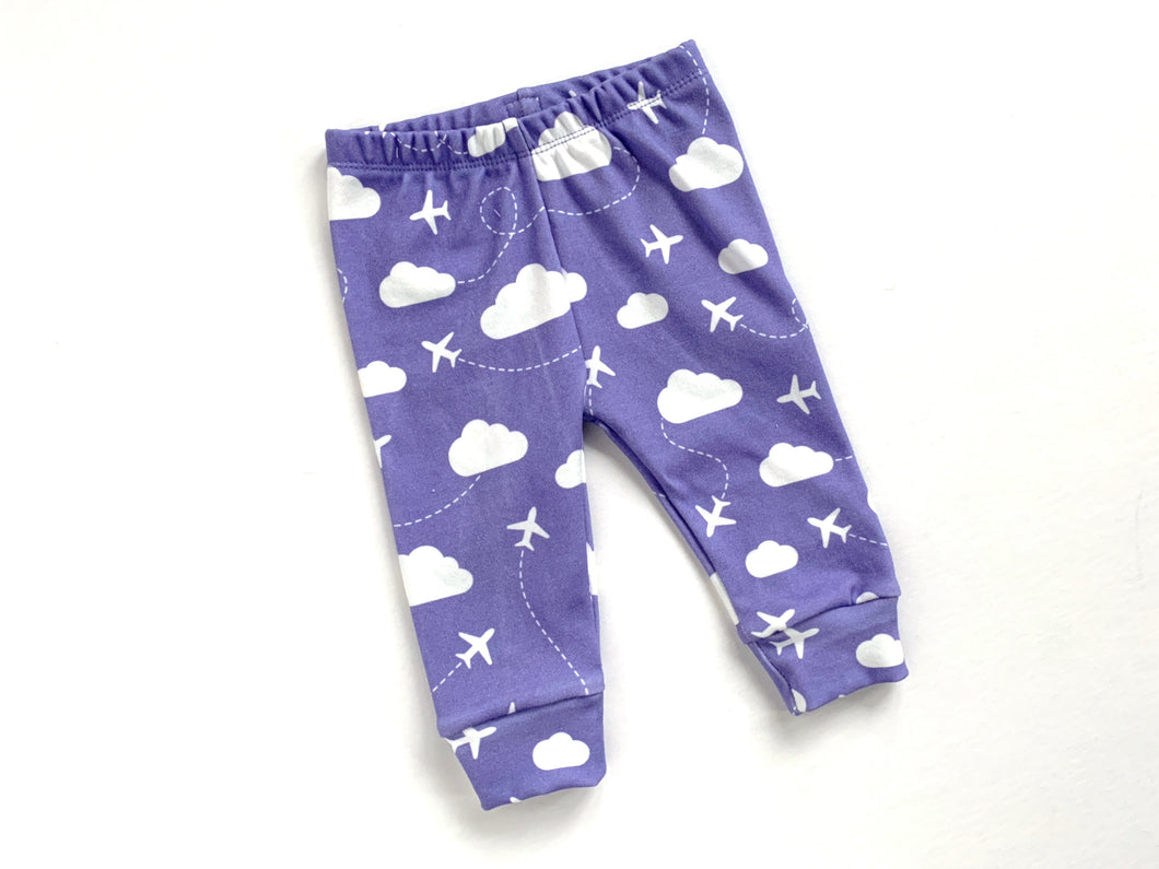 Jets in Clouds Organic Baby Leggings - Purple / White - CAVU Creations