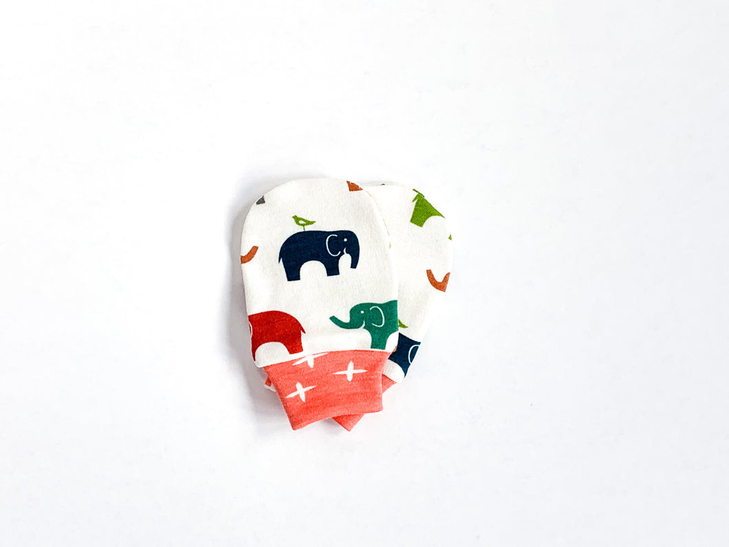 Elephants Organic Newborn Mittens - Multi / Off-White / Dark Coral Cuff - CAVU Creations