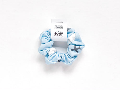 Organic Cotton Scrunchie - Jets in Clouds - Blue / Gray / White