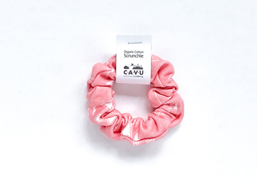 Organic Cotton Scrunchie - PNW - White / Coral - CAVU Creations